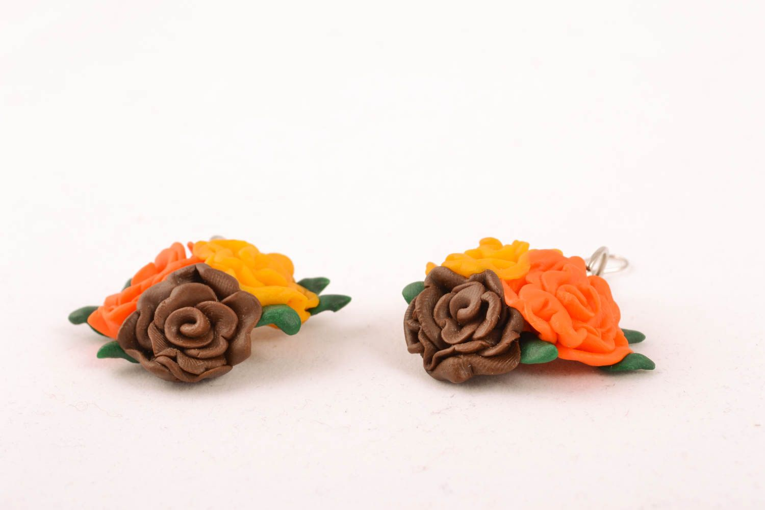Polymer clay floral earrings photo 2
