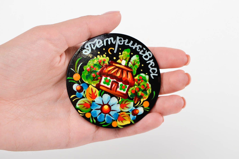 Decorative handmade wooden fridge magnet Petrikov painting decorative use only photo 2