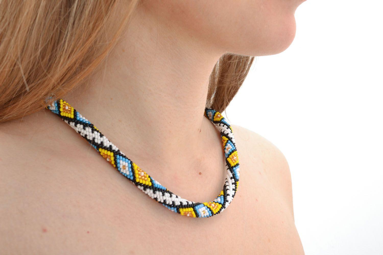 Bright beaded cord necklace Carpathian photo 5