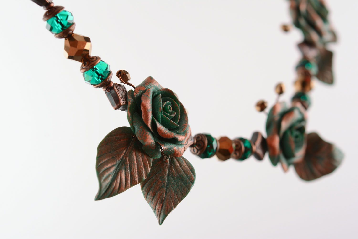 Necklace made of polymer clay Copper Rose photo 4