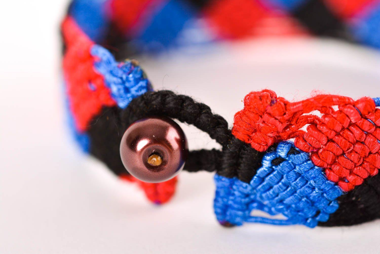 Браслет ручной работы браслет из ниток модный браслет сине красно черный  фото 3