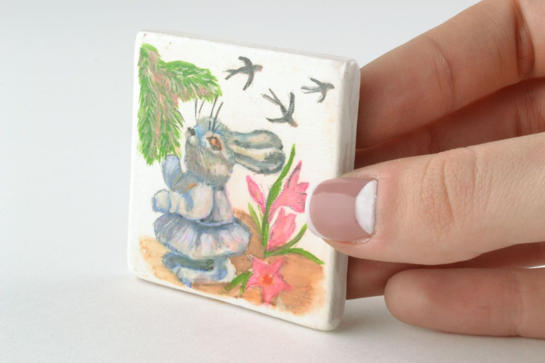 Ceramic fridge magnet Bunny photo 2