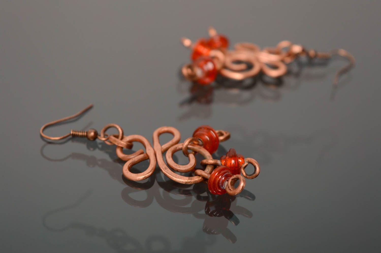 Ohrringe aus Kupfer in Wire Wrap Technik mit Perlen Lampwork foto 3