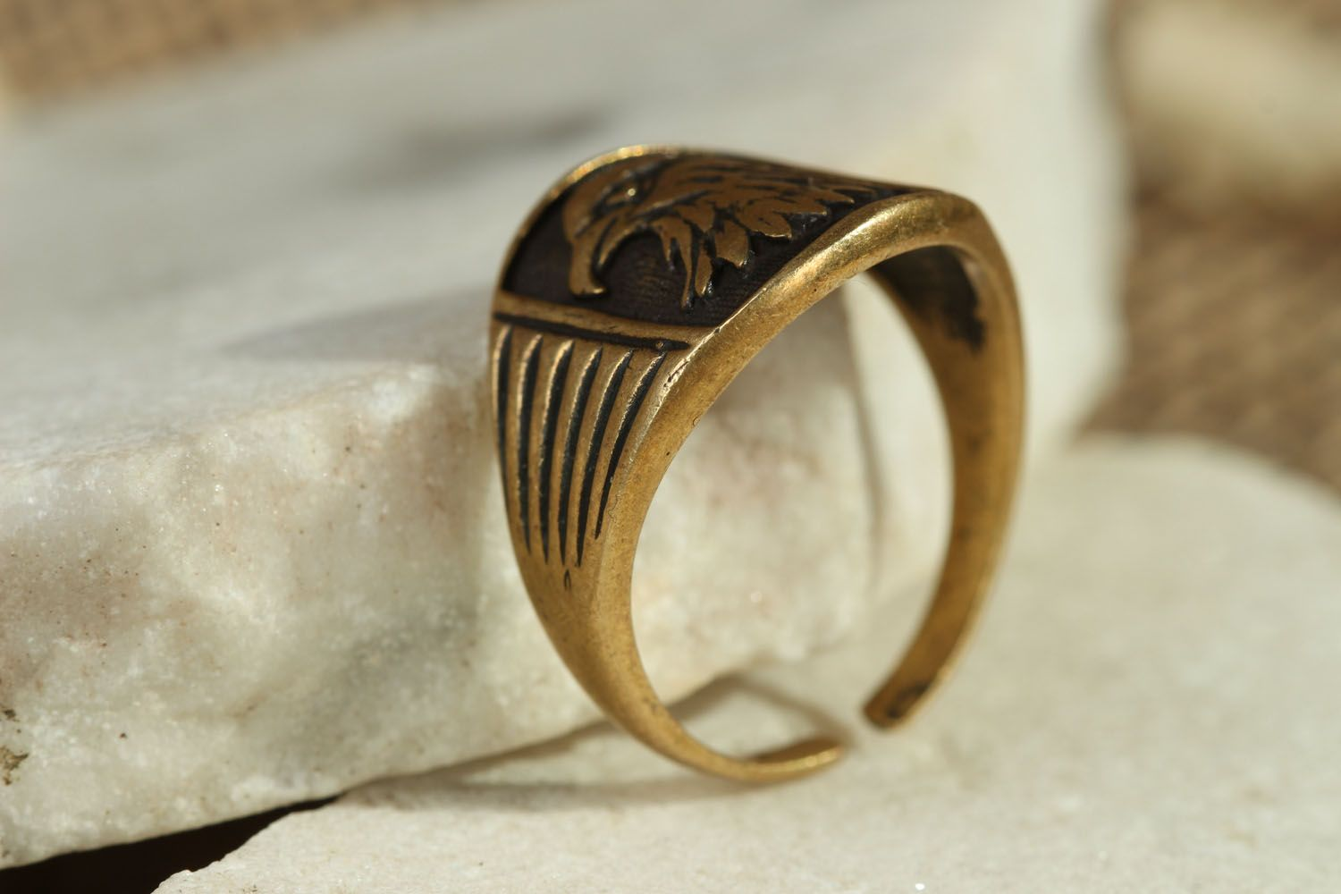 Homemade bronze seal ring Eagle photo 2
