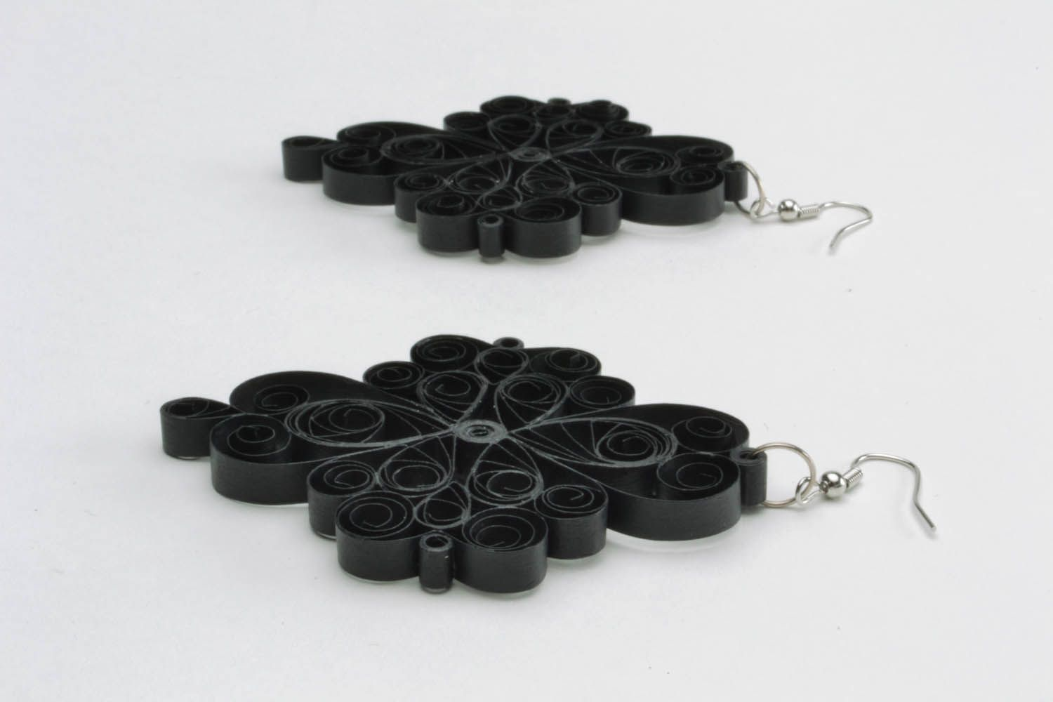 Handmade lace black earrings photo 4