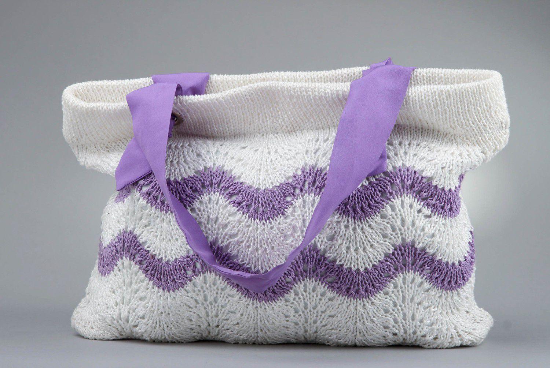 Stylish knitted cotton bag photo 3