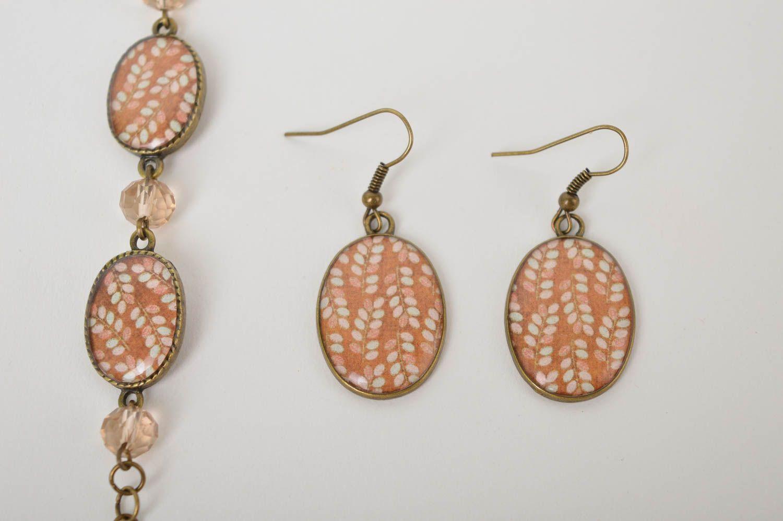 Handmade lovely earrings stylish cute jewelry set unusual designer bracelet photo 4