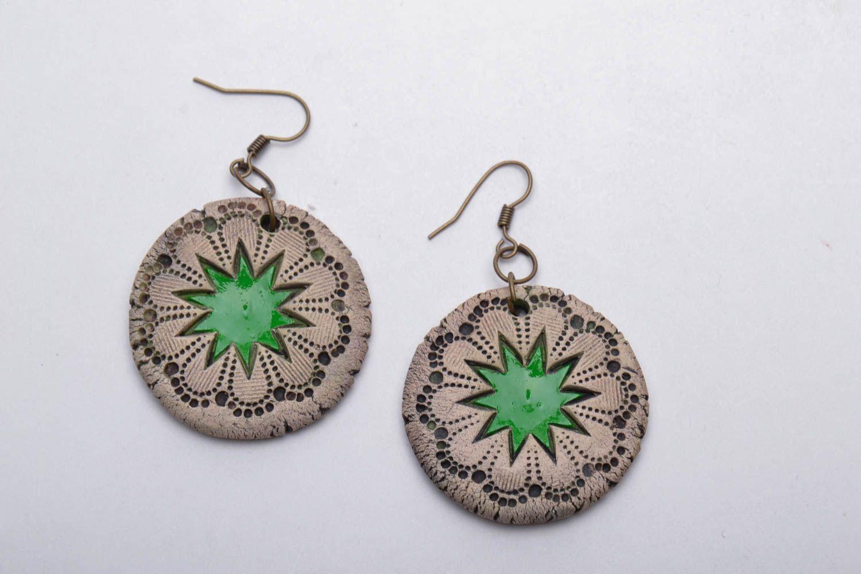 Painted ceramic earrings photo 3