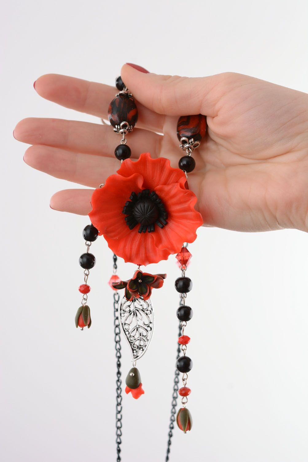 Polymer clay pendant Poppy photo 5