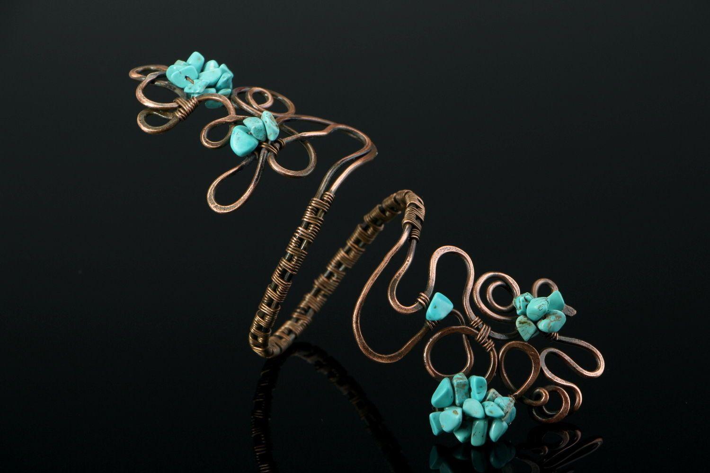 Copper bracelet with turquenite photo 3