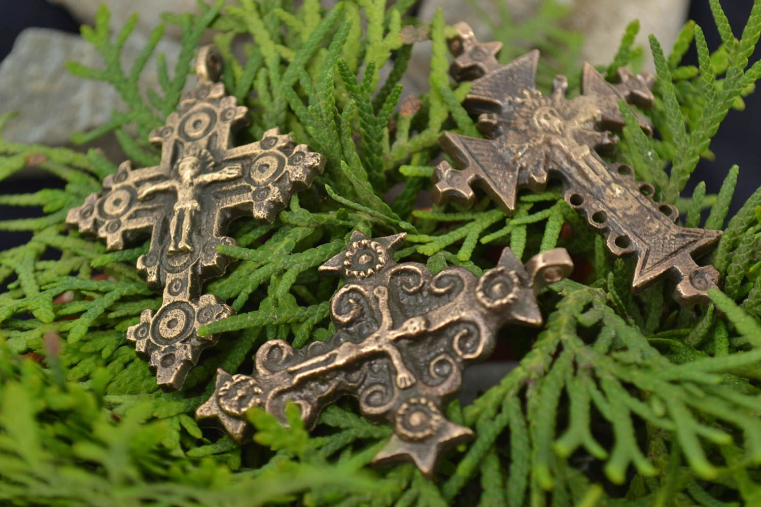 next to skin crosses Set of 3 handmade fancy cross pendants cast of bronze of different shapes  - MADEheart.com