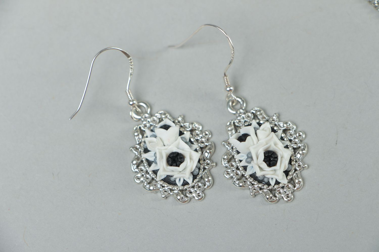 Handmade polymer clay jewelry earrings and pendant White Anemones photo 2