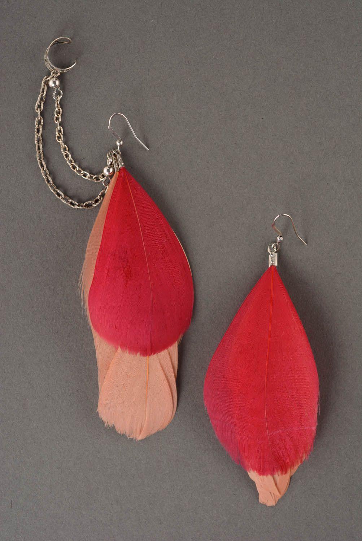 Cuff earrings Bordeaux Feathers photo 2