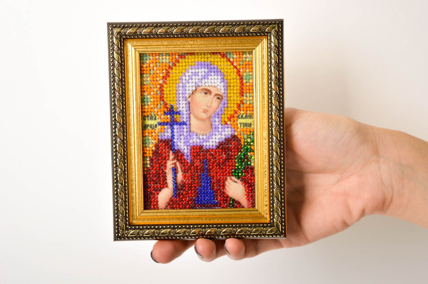 Handmade beautiful beaded icon stylish embroidered icon small home amulet photo 5