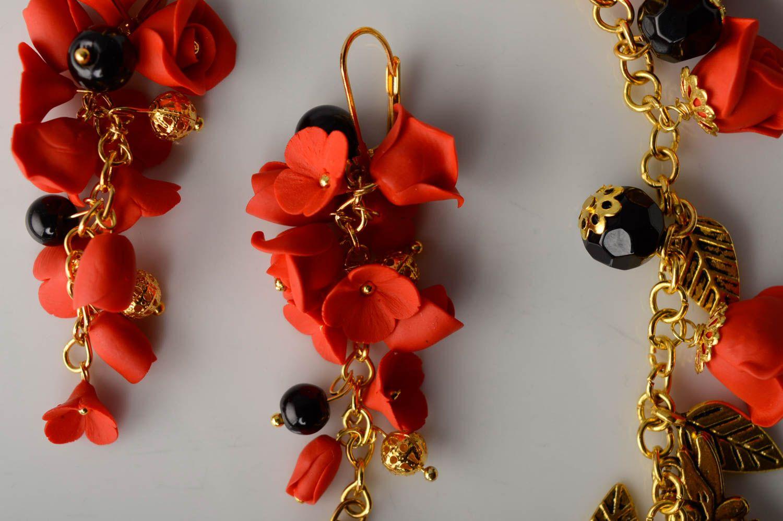 Handmade plastic jewelry set Red Roses photo 2
