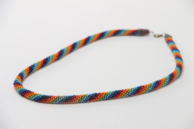 Buntes langes handgemachtes geflochtenes Litze Collier aus Glasperlen Halskette foto 3