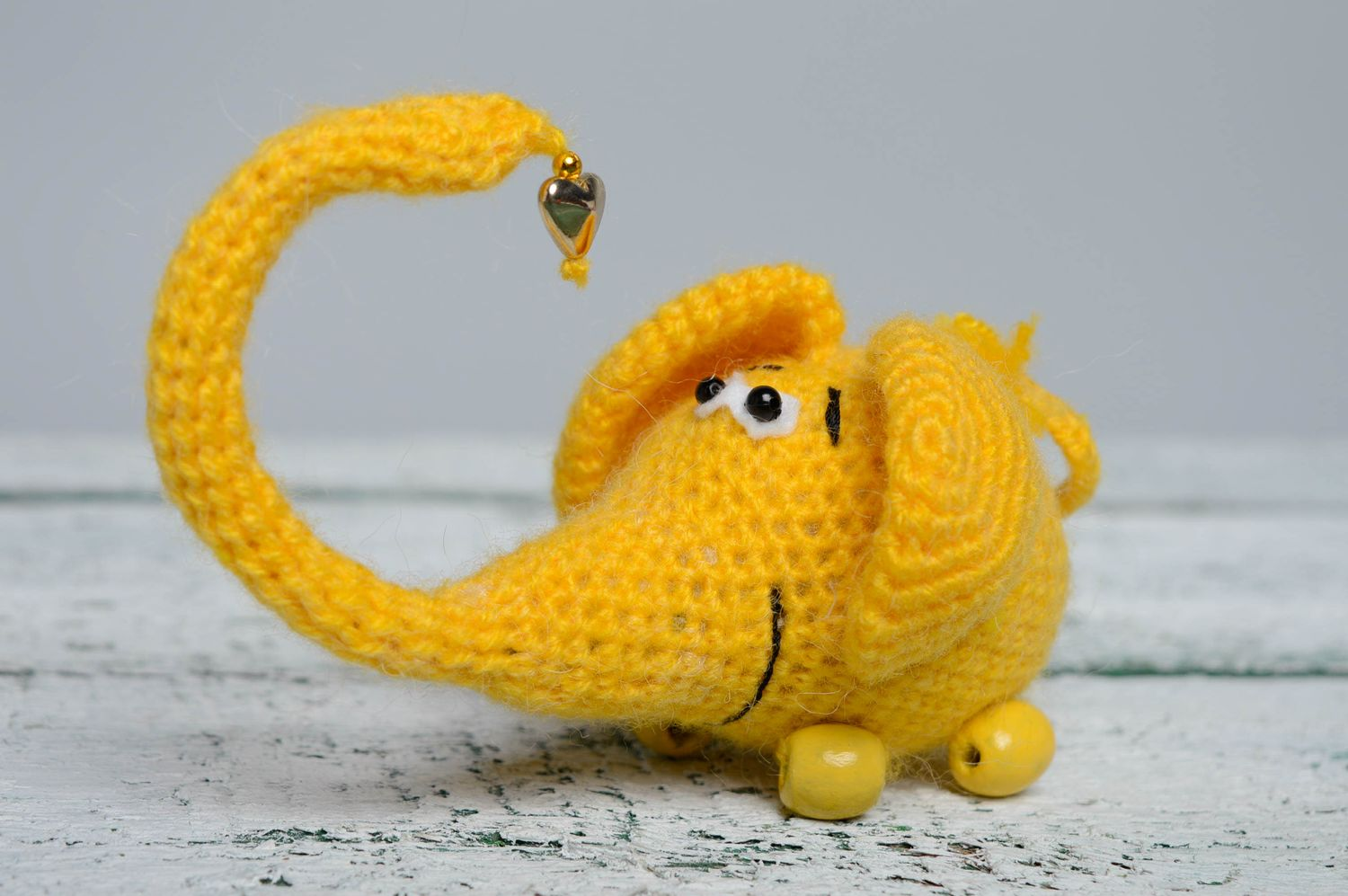 knitted toys Soft crochet toy Yellow Elephant - MADEheart.com