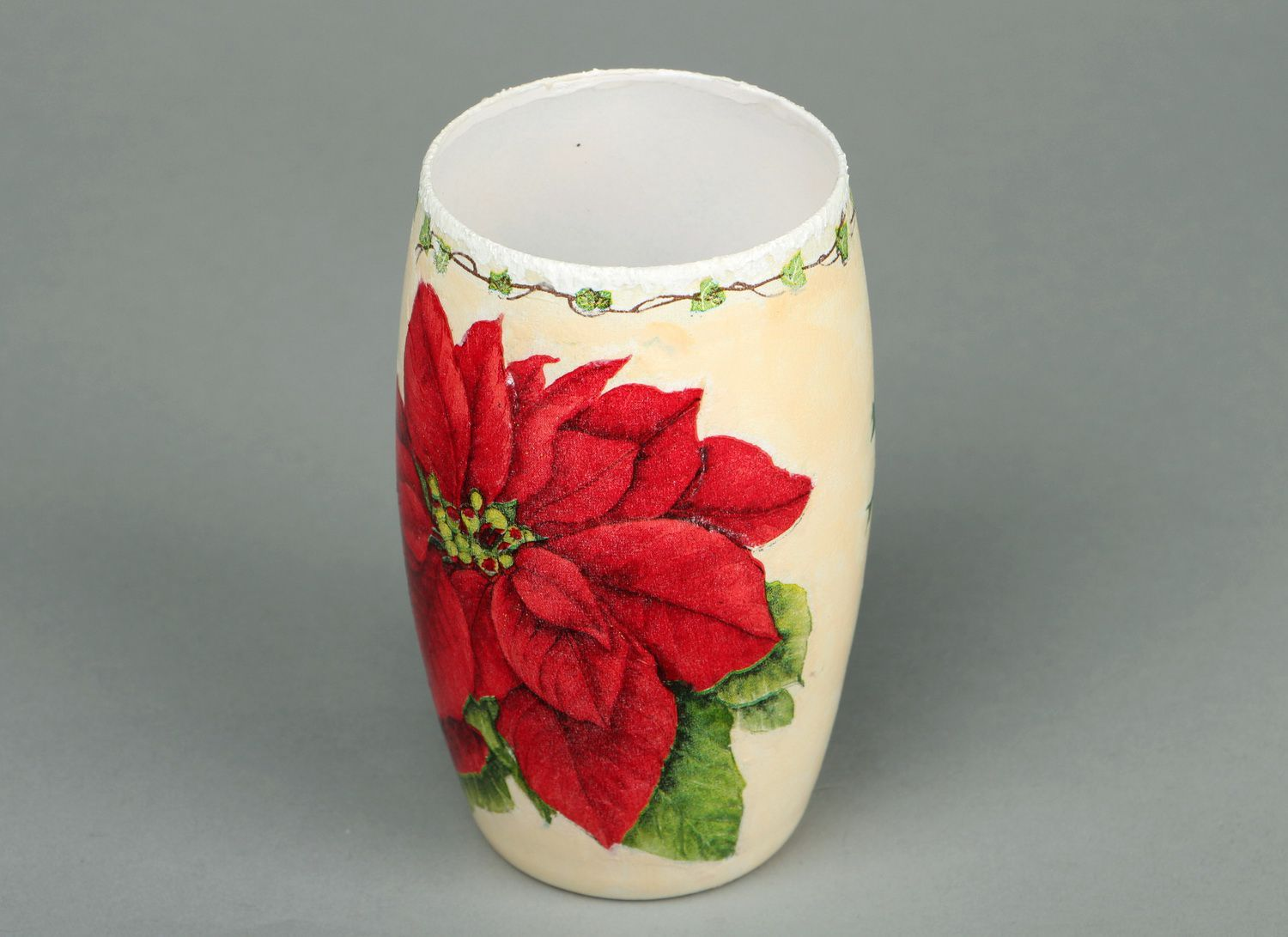 5 inches ceramic vase with floral red flower décor 0,4 lb photo 2