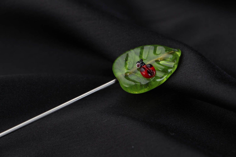 Glass brooch Leaf photo 3