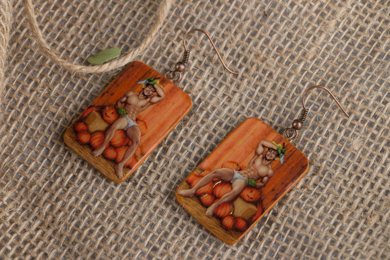 Polymer clay earrings Pumpkin Carver photo 1