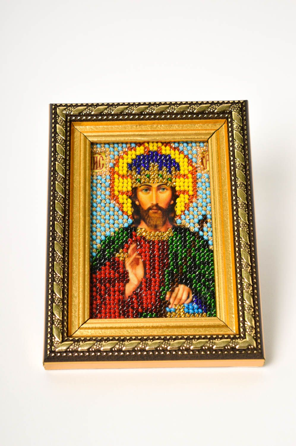 Handmade beautiful designer icon embroidered orthodox icon religious present photo 2