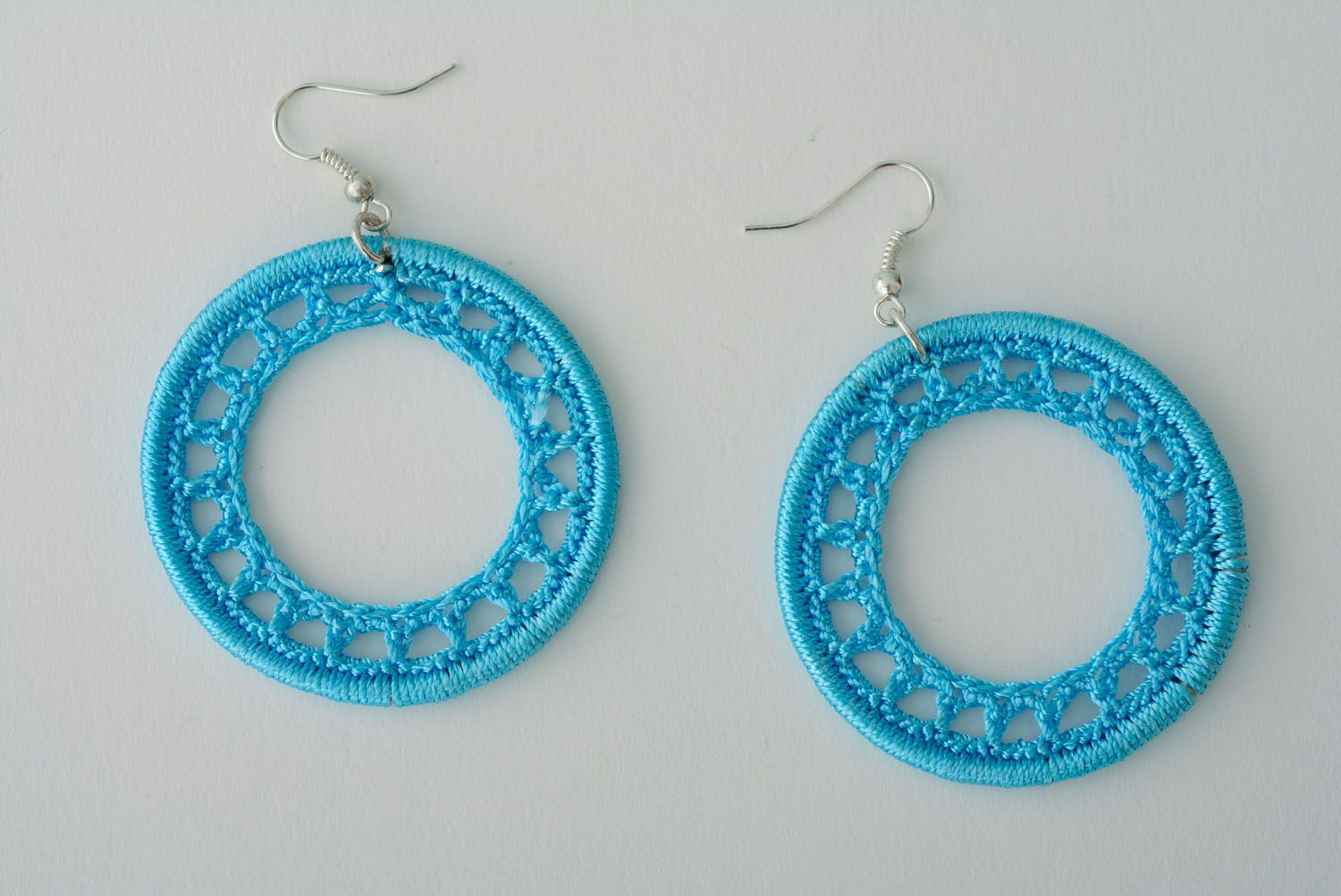 Blue woven earrings photo 1