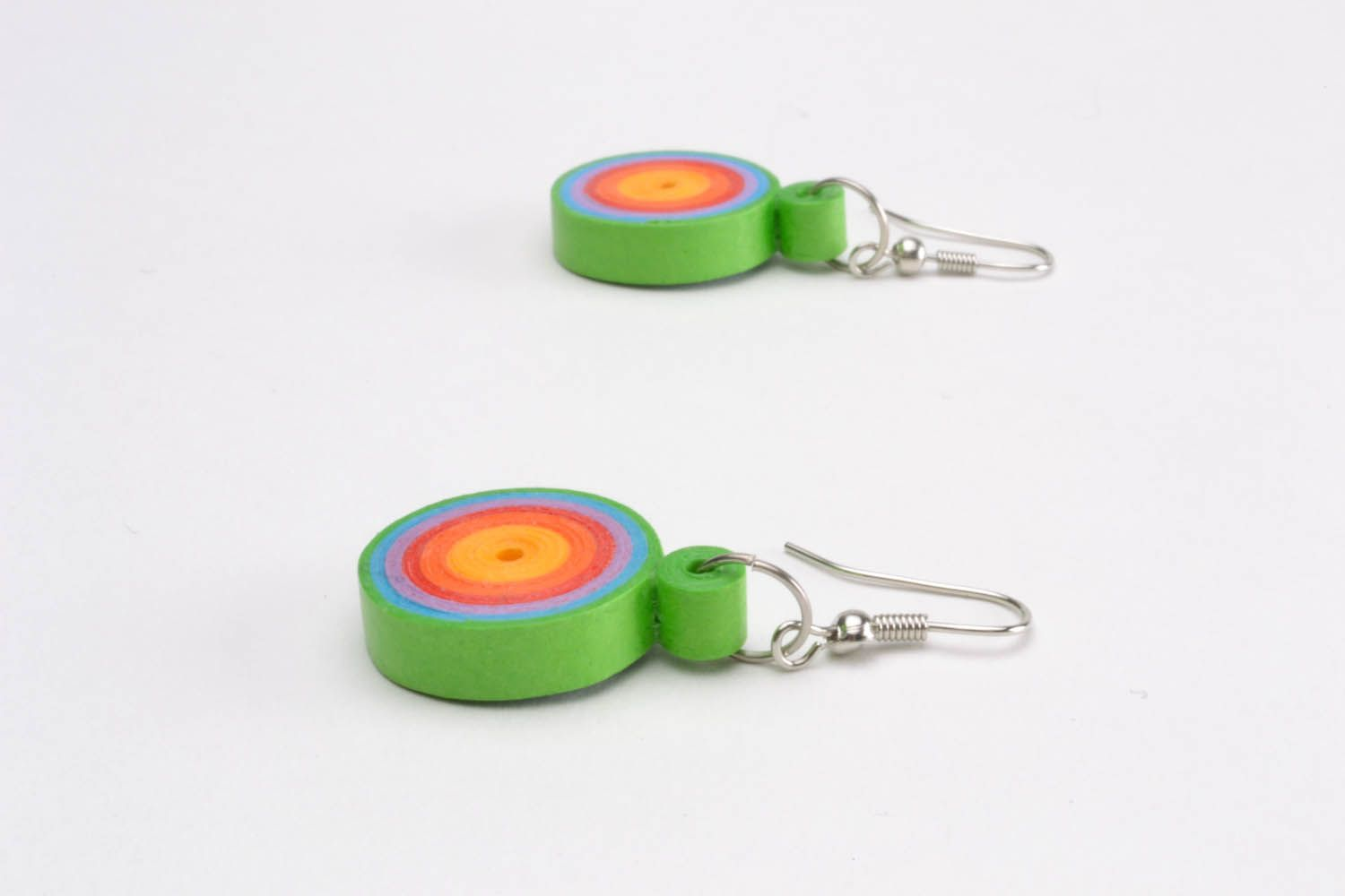 Multicolored paper quilling earrings  photo 3