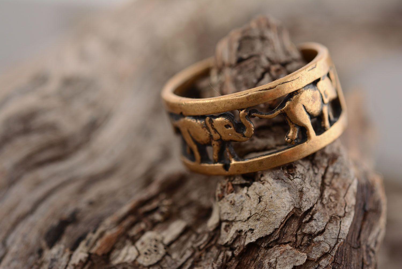 Bronze ring Elephants photo 2
