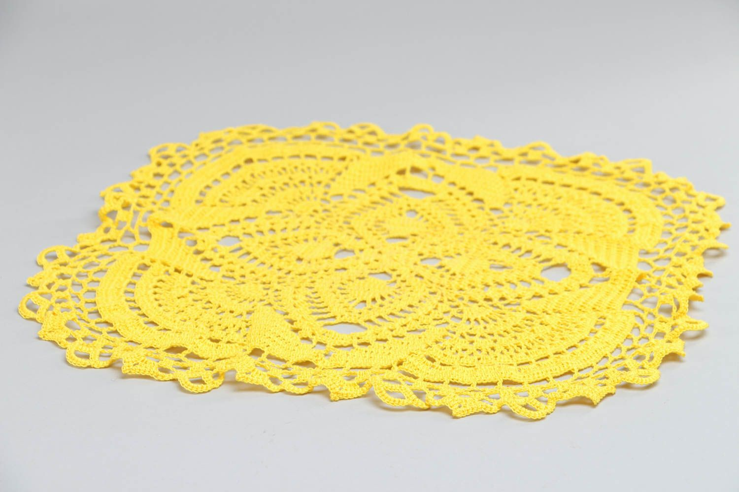 textiles and carpets Beautiful light lace crochet cotton table napkin of yellow color handmade - MADEheart.com