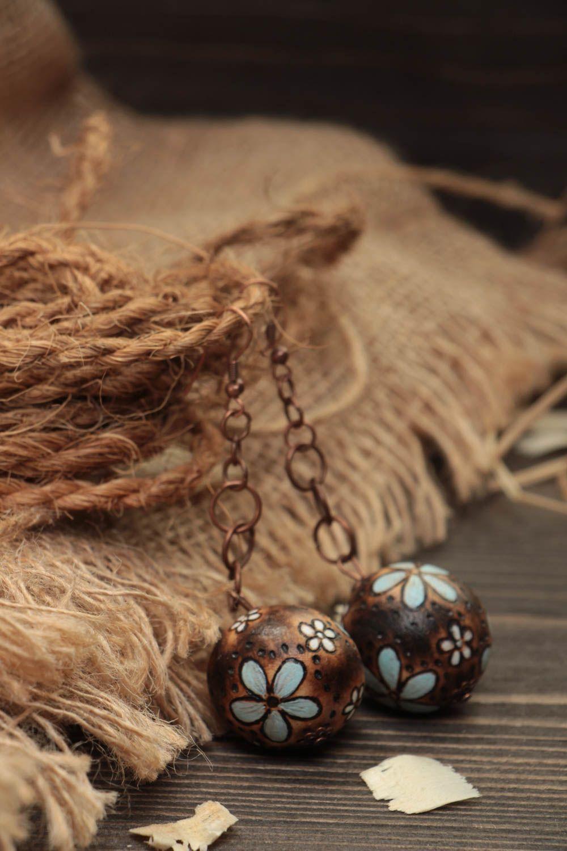 Handmade earrings wooden jewelry designer accessories ball earrings gift for her photo 1