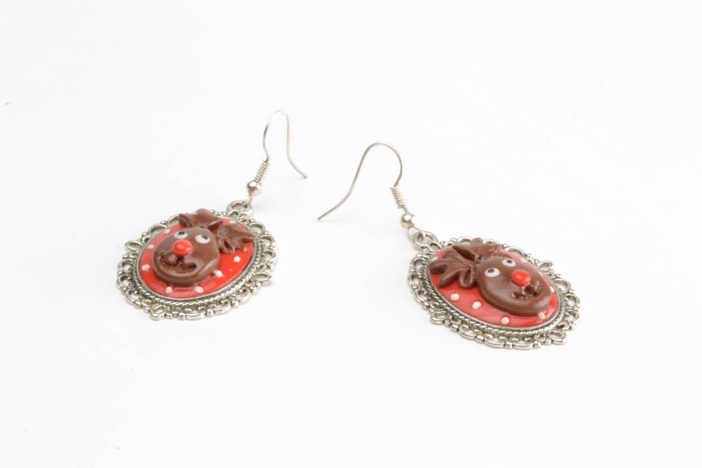 Homemade earrings Deer photo 4