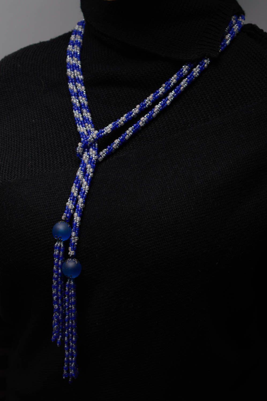Лариат пояс из бисера синий фото 3
