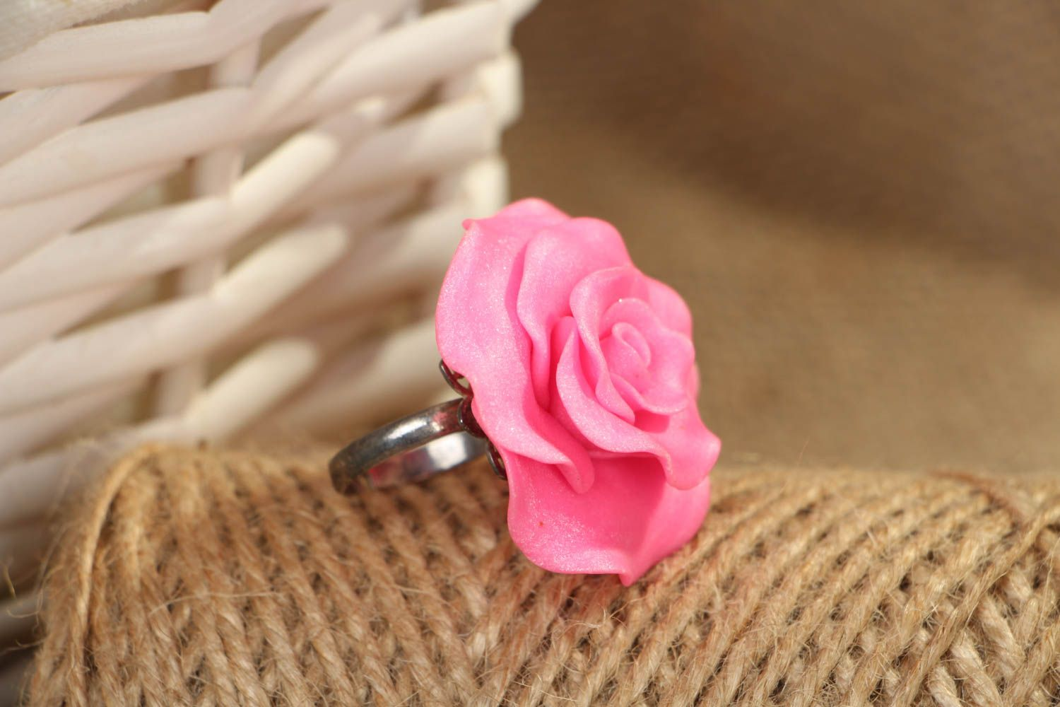 Polymer clay floral ring photo 4