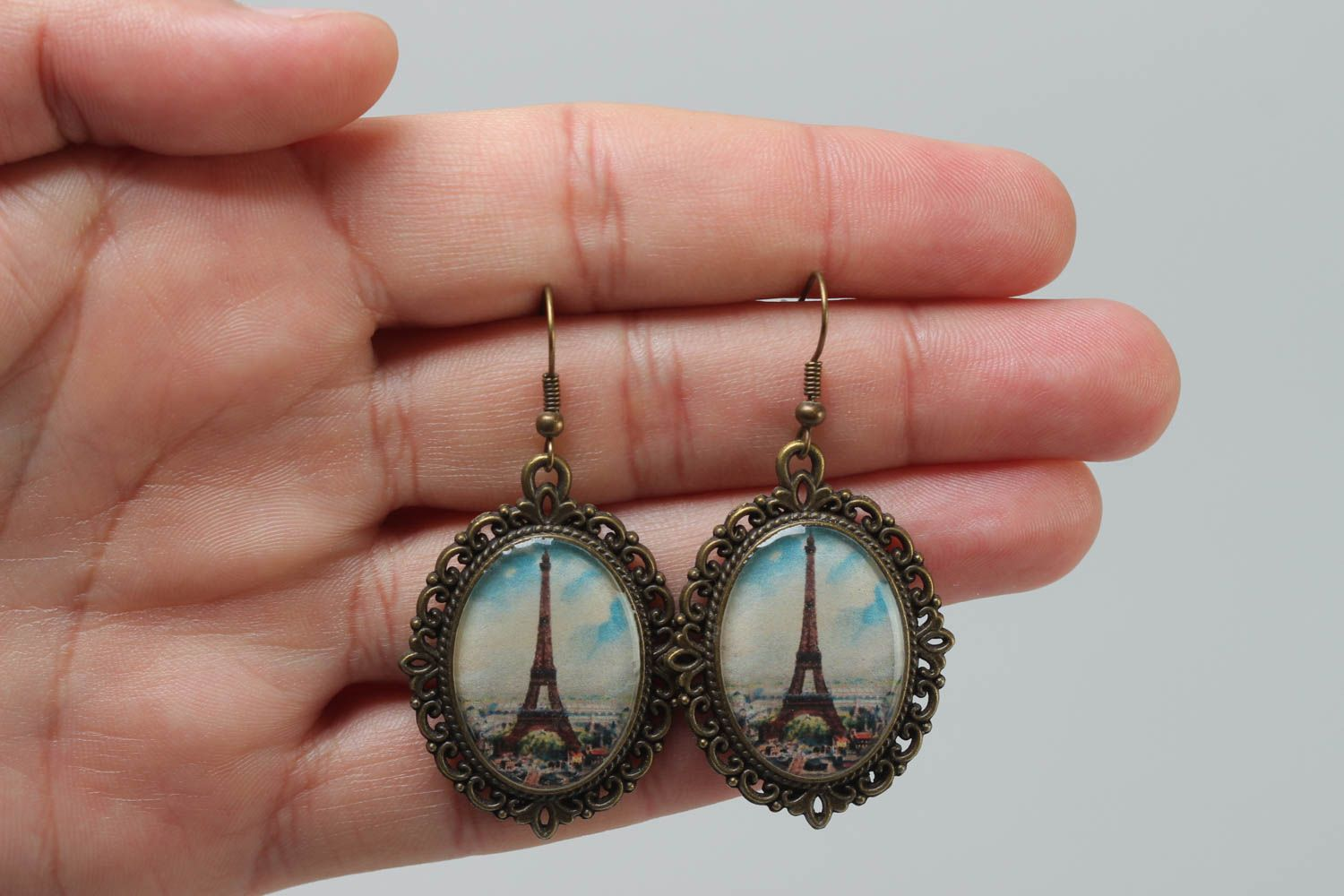 Handmade women's earrings with glass glaze oval vintage stylish accessory photo 5
