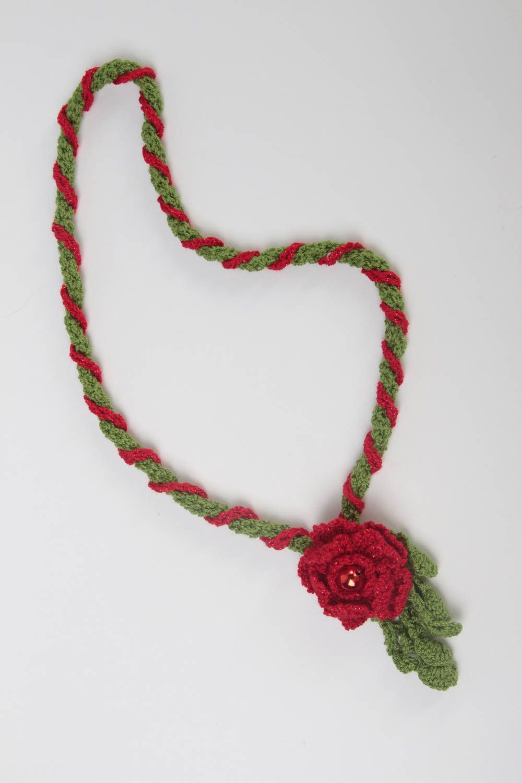 Unusual red pendant gift crocheted textile pendant stylish female jewelry photo 3