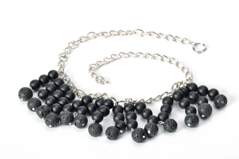 Black handmade necklace  photo 5