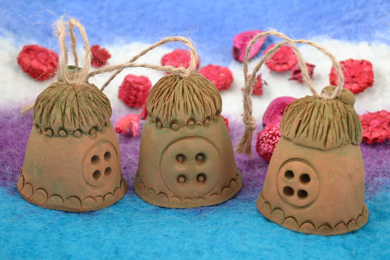 Set of 3 handmade ethnic decorative figured ceramic bells in the shape of houses photo 1