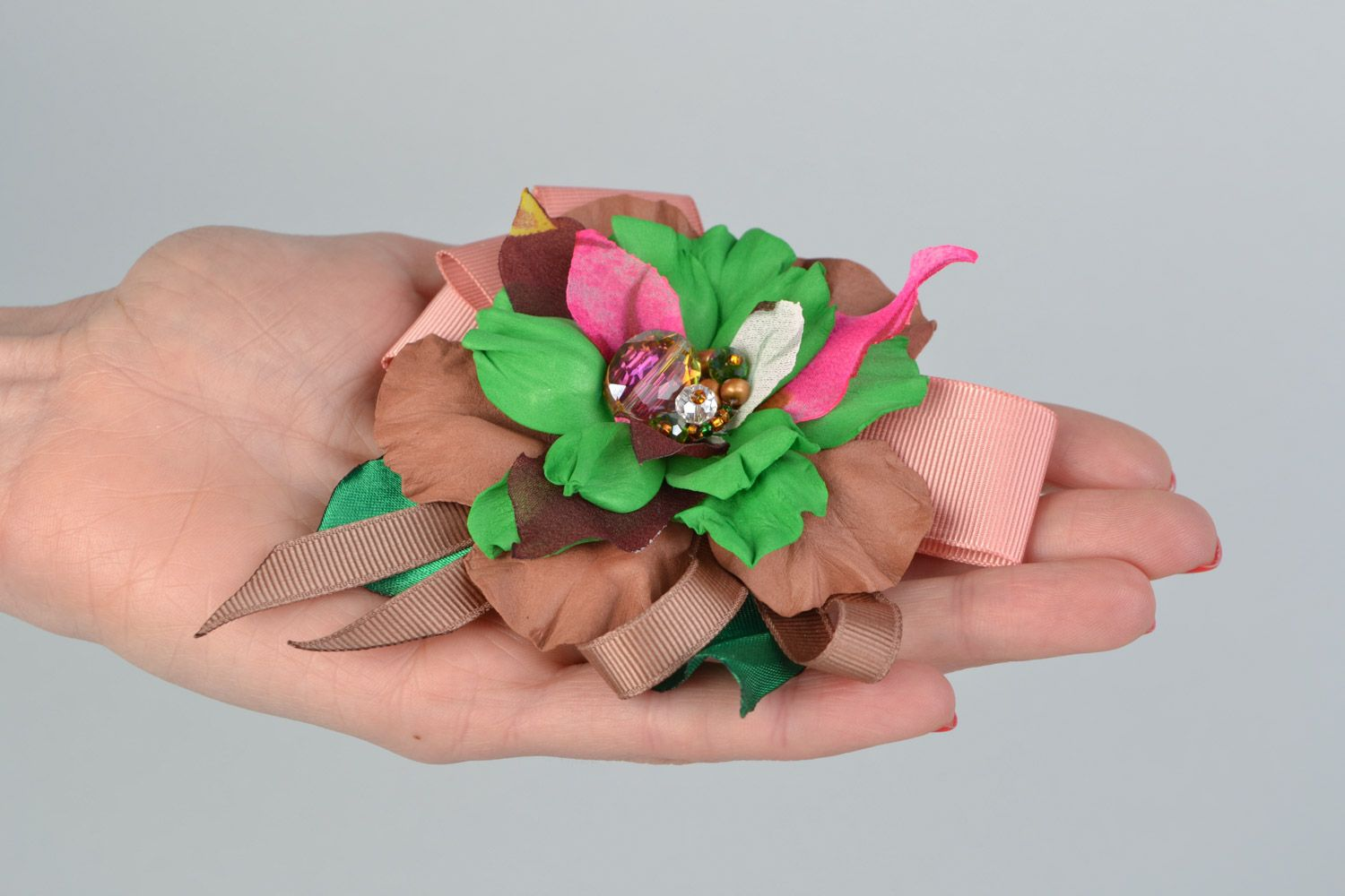Handmade brown and green hair clip brooch with foamiran flowers and ribbon  photo 2