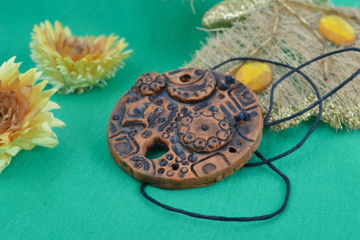 Handmade decorative clay pendant painted with acrylics stylish accessory photo 1