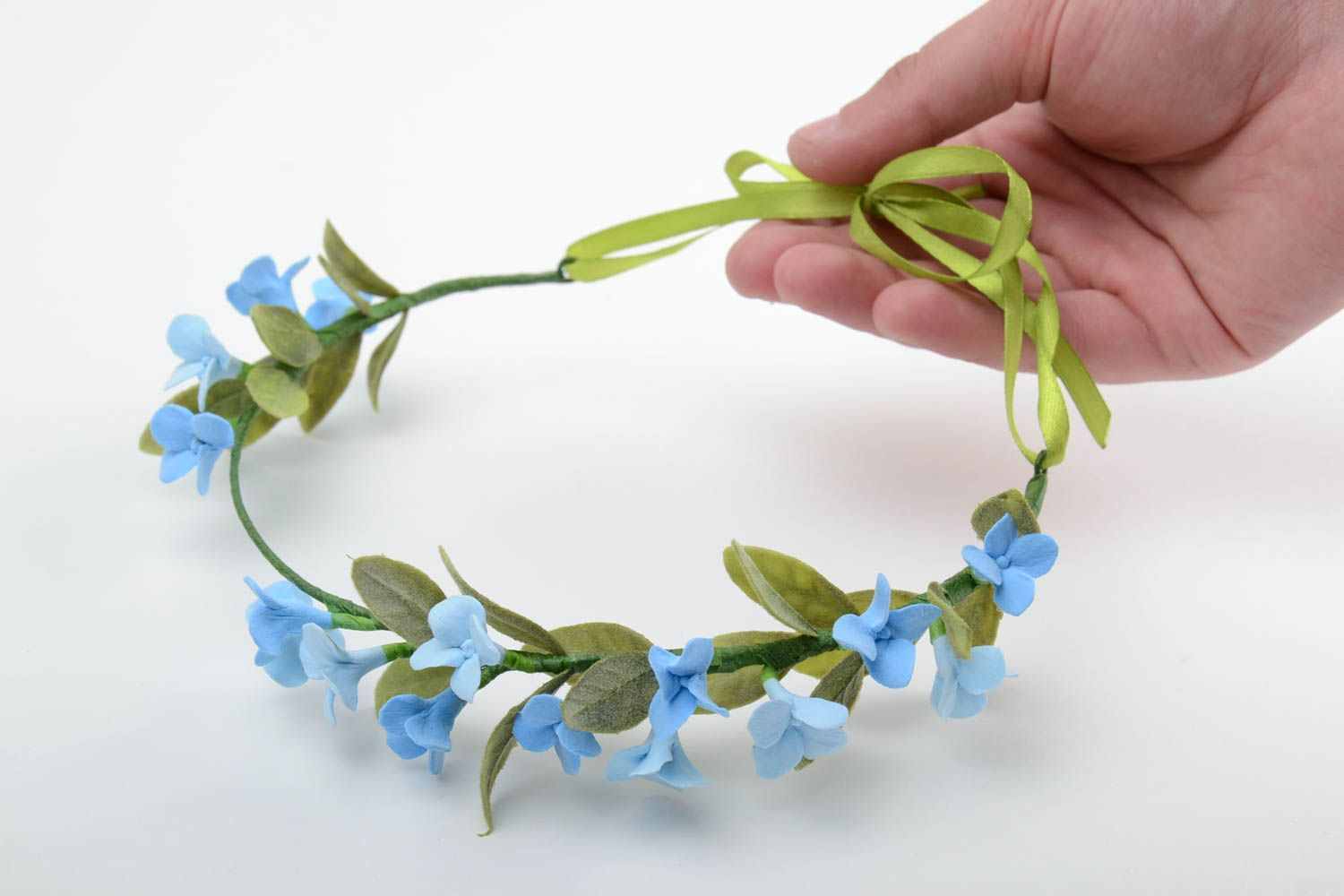 Handmade tender thin headband with polymer clay blue flowers and ribbon photo 2