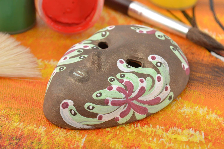 Beautiful homemade designer clay fridge magnet souvenir Venetian mask photo 1