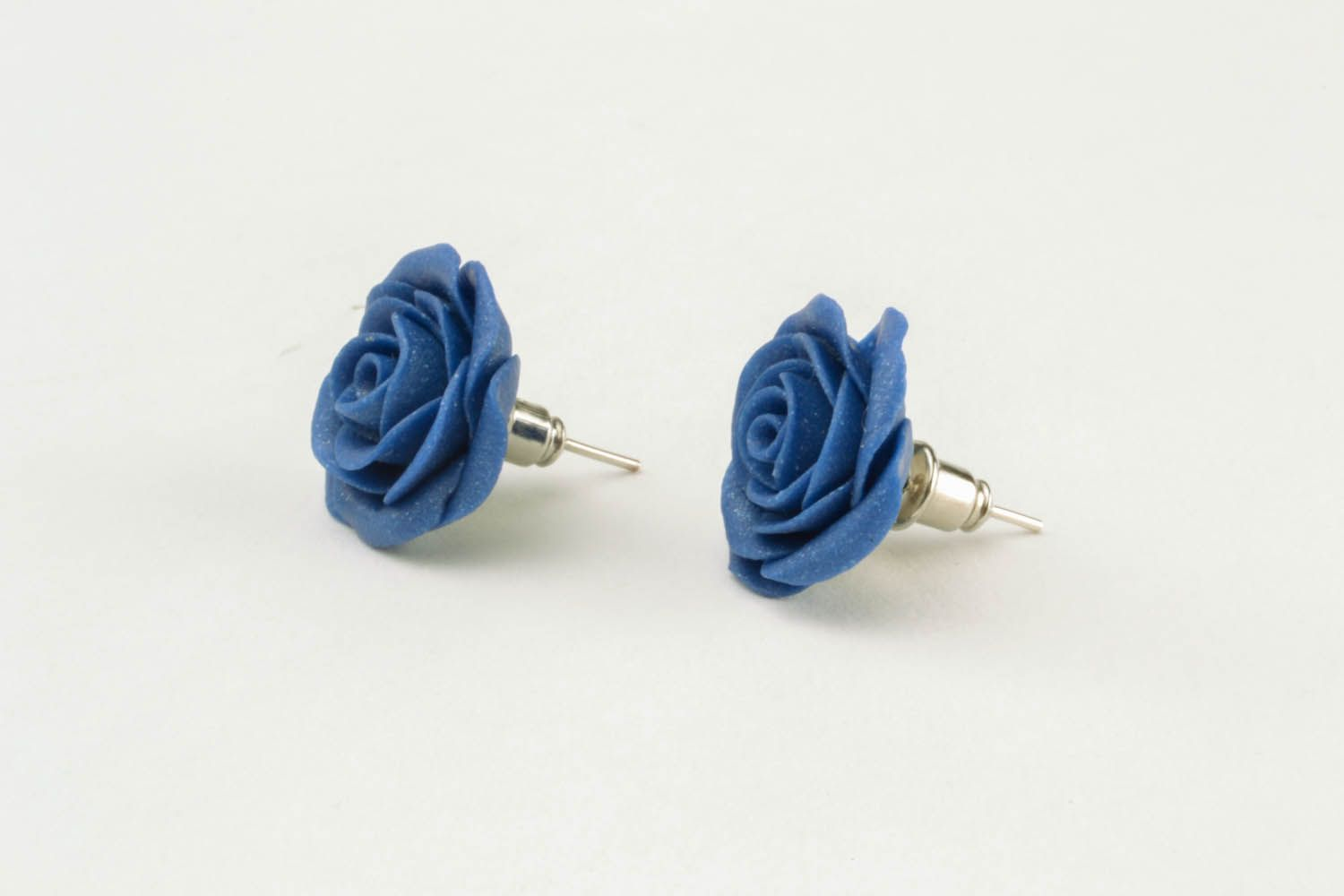 Polymer clay earrings Blue Roses photo 5