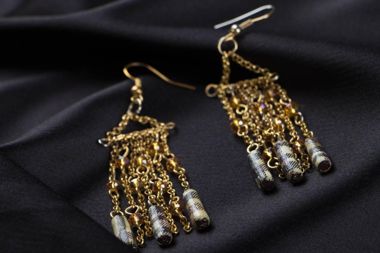 Metal earrings with beads photo 2