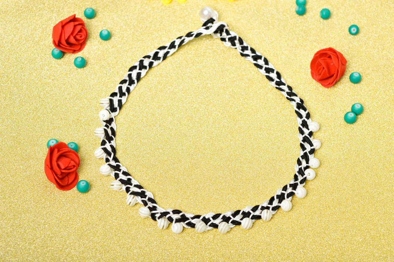 Handmade beaded necklace black and white thread necklace stylish jewelry  photo 1