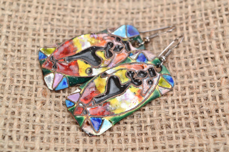 Rectangular copper earrings Dancing Africa photo 1