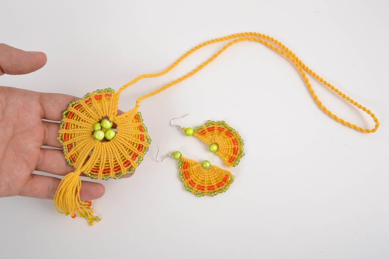 Macrame jewelry set handmade earrings pendant necklace fashion accessories photo 2