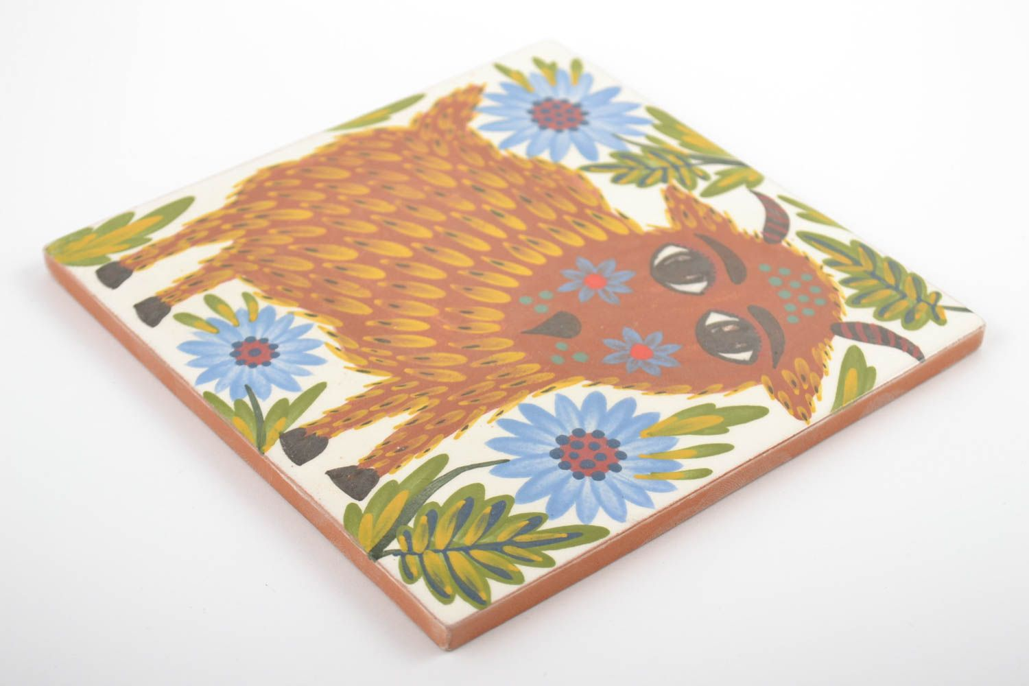 decorative handmade tiles Handmade decorative painted tile made of clay for children's room wall panel - MADEheart.com