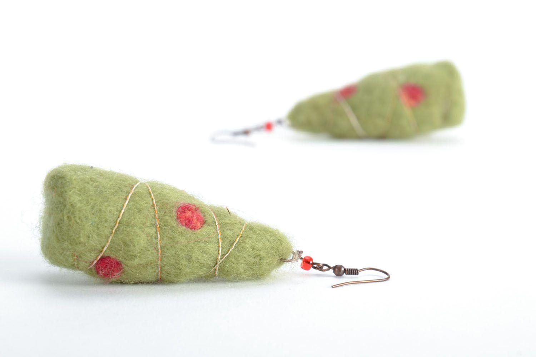 Wool earrings Christmas Trees photo 5