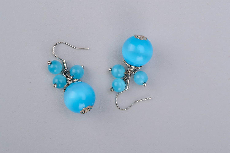 Boucles d'oreilles avec opale oeil de chat photo 3