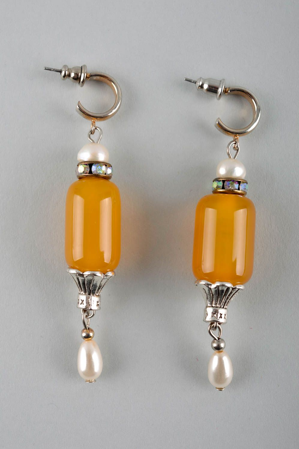 Handmade designer earrings cute earrings with cornelian earrings with charms photo 3